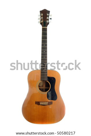 An acoustic classic guitar instrument isolated on white