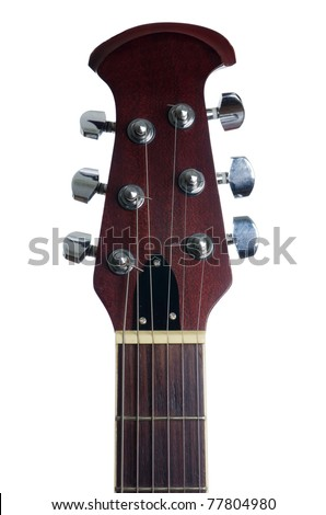 An acoustic guitars headstock - stock photo