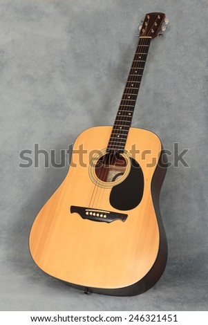 An Acoustical Guitar on a Gray Blue Background - stock photo