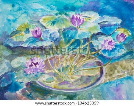 An acrylic painting of Monet's water lily pond at Giverny is done is broad washes. - stock photo