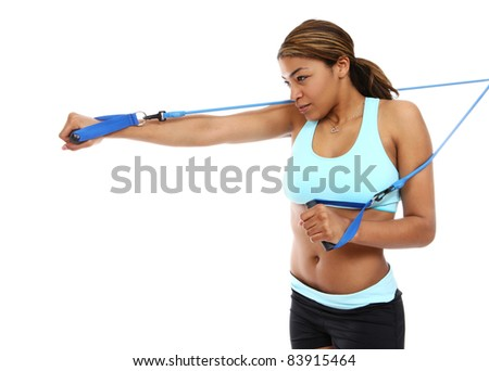 An active african american woman doing fitness exercise isolated - stock photo