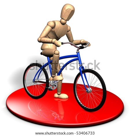 An active businessman is sitting on the bicycle on the red stage - stock photo