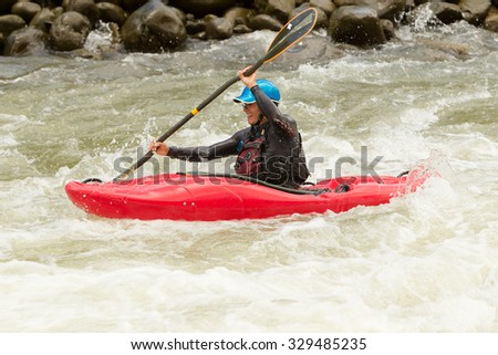 An Active Kayaker On The Rough Water - stock photo