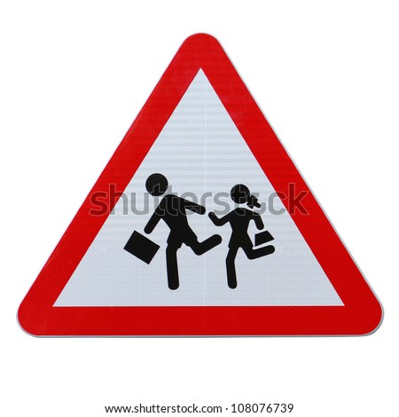 An actual road sign in Spain on school children crossing (isolated on white with clipping path) - stock photo