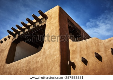 an adobe building in New Mexico - stock photo