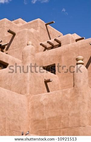 An adobe building in Santa Fe, New Mexico - stock photo