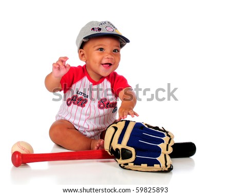 An adorable biracial baby dressed for playing baseball.  Isolated on white. - stock photo