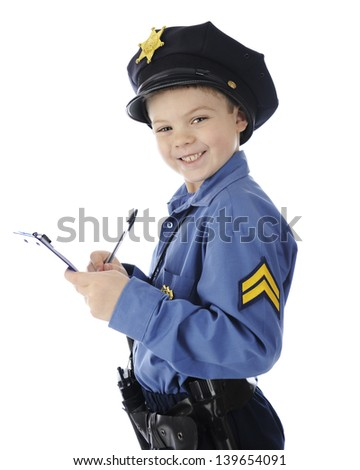 "An adorable elementary ""cop"" happily writing a ticket.  On a white background."