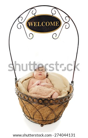 "An adorable newborn contentedly sleeping in a wire basket from which a ""Welcome"" sign dangles from the handle.  Isolated on white. - stock photo"