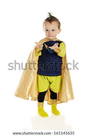 An adorable preschool superhero with his hands held out as if giving or receiving.  On a white background. - stock photo