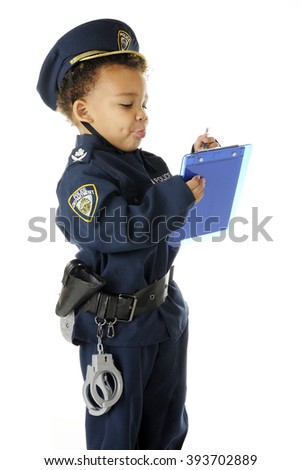 "An adorable preschool ""traffic cop"" in full uniform, writing a ticket.  On a white background."