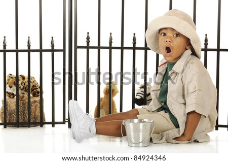 An adorable preschooler roaring like the lions as he prepares to feed the animals in his pretend zoo.  He's dressed in a tan safari hat, shirt and shorts. - stock photo