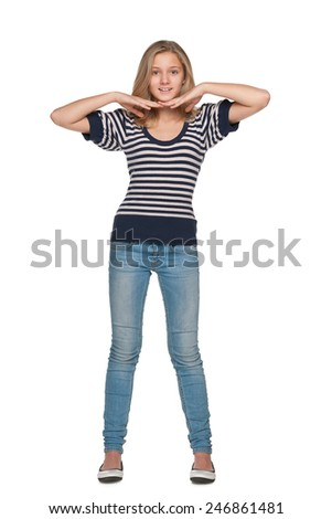 An adorable preteen girl against the white background - stock photo