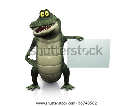 An adorable smiling friendly cartoon crocodile holding a blank sign in his hand. - stock photo