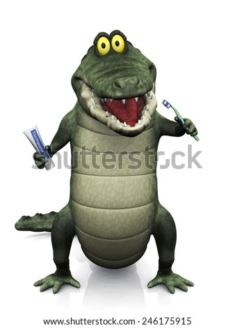 An adorable smiling friendly cartoon crocodile holding a toothbrush in one hand and toothpaste in the other, ready to brush his teeth. White background.