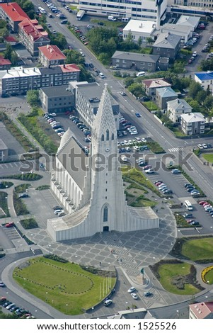 An aerial of an art-deco Church in Reykjavik, Iceland