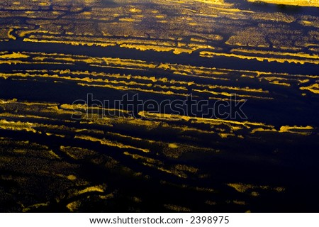 An aerial shot of a marsh. - stock photo