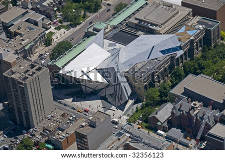 An aerial shot of the new Libeskind-designed Michael Lee-Chin Crystal extension to the Royal Ontario Museum in Toronto, Canada.