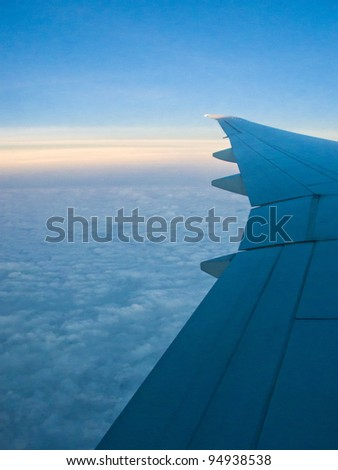 An aerial view from an airplane - stock photo