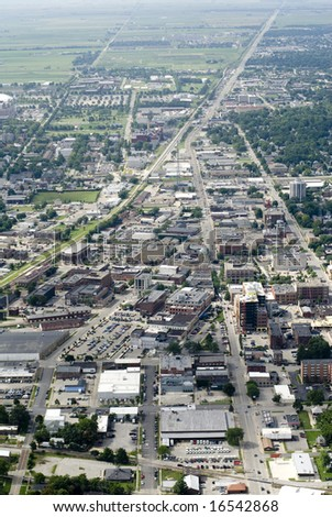 An aerial view of a busy urban district. - stock photo