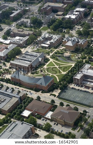 An aerial view of a collegiate campus. - stock photo