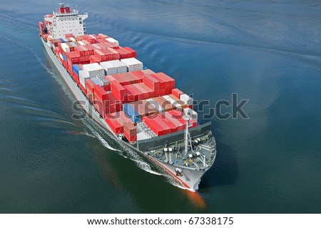 An aerial view of a container ship. - stock photo