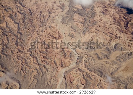 An aerial view of a dried riverbed in the mountains east of San Diego