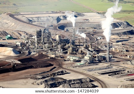 An aerial view of a mine processing facility - stock photo
