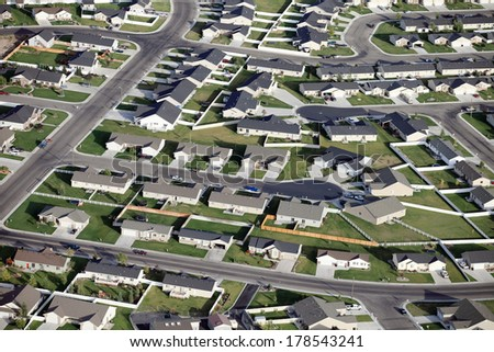 An aerial view of a modern housing subdivision