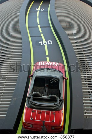 An aerial view of a racing car on the track - stock photo