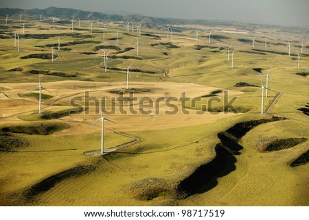 An aerial view of a wind farm - stock photo