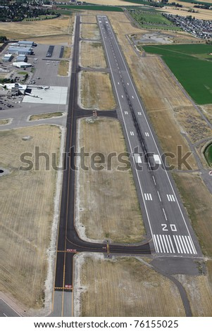 An aerial view of an airport runway - stock photo