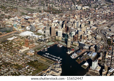 An aerial view of Baltimore Maryland and the Inner Harbor. - stock photo