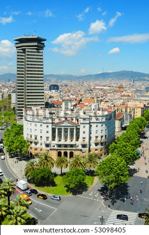 An aerial view of Barcelona, Catalonia, Spain - stock photo