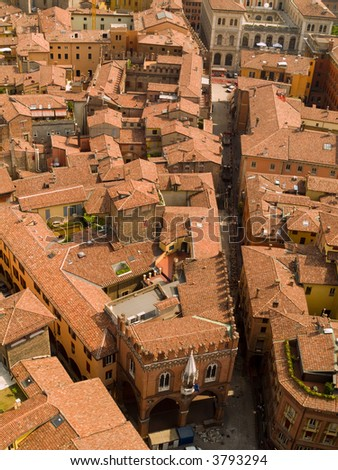 An aerial view of Bologna rooftops. - stock photo