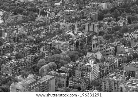An aerial view of Boston cityscape in black and white - stock photo