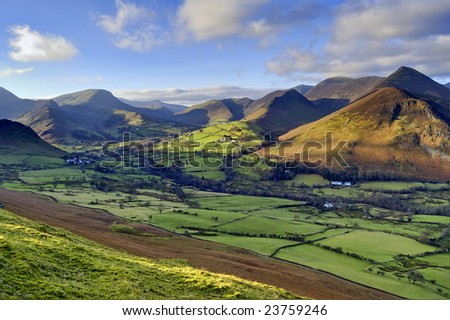 An aerial view of Causey Pike, Robinson, and Newlands Valley from the ridge of Catbells - stock photo
