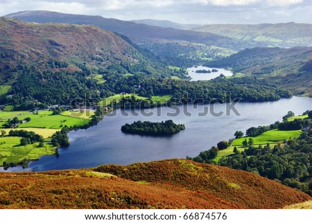 An aerial view of Grasmere from the slopes of Silver Howe. English Lake District National Park - stock photo