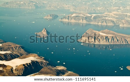 An aerial view of Greenland. - stock photo
