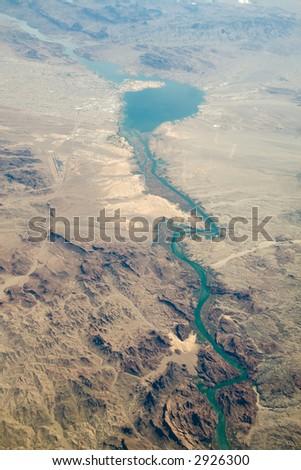 An aerial view of Lake Havasu and the Colorado River in Arizona - stock photo