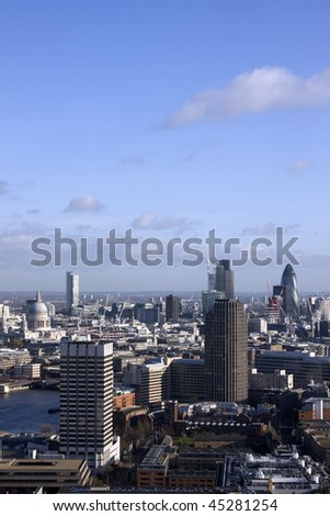 An aerial view of London showing St Paul's Cathedral, the Natwest Tower and the Gherkin