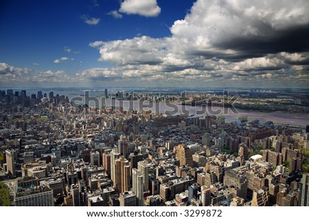 An aerial view of Lower Manhattan, New York - stock photo