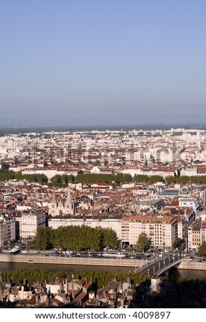 An aerial view of Lyon, France - stock photo