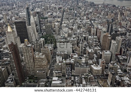 An aerial view of New York City buildings and skyscrapers. - stock photo