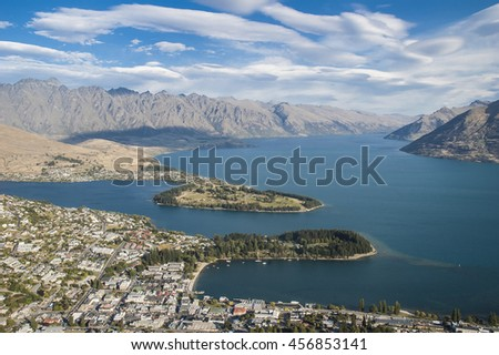 An aerial view of Queenstown, Lake Wakatipu and the Remarkables, New Zealand - stock photo