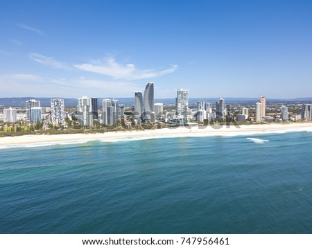 An aerial view of the Broadbeach skyline on Queensland's Gold Coast