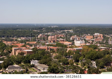 An aerial view of the campus of Florida State University looking west as seen from the 22nd floor of the Florida State Capital Building in Tallahassee. - stock photo