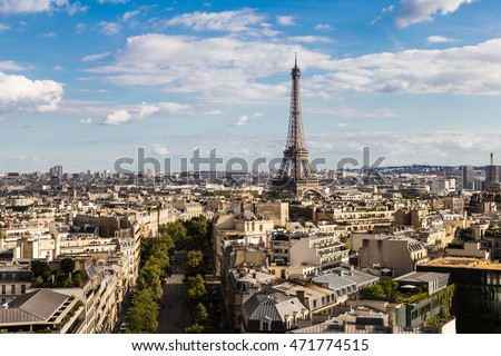 An aerial view of the Eiffel Tower in Paris during a sunny summer day in France capital city