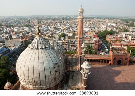 An aerial view of the Jama Masjid, Delhi, India - stock photo