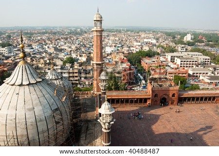 An aerial view of the Jama Masjid mosque overlooking Old Delhi, India - stock photo